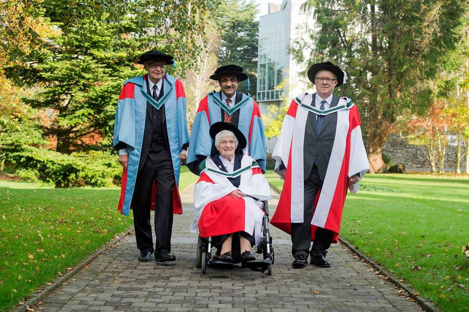 American computing pioneer Donald Knuth; Anant Agarwal, CEO of edX; Sr Mercedes Desmond, who has championed science education in Ireland for over 60 years; and Desmond MacHale, Emeritus Professor of Mathematics at UCC, were awarded honorary doctorates on George Boole Day, November 2.
