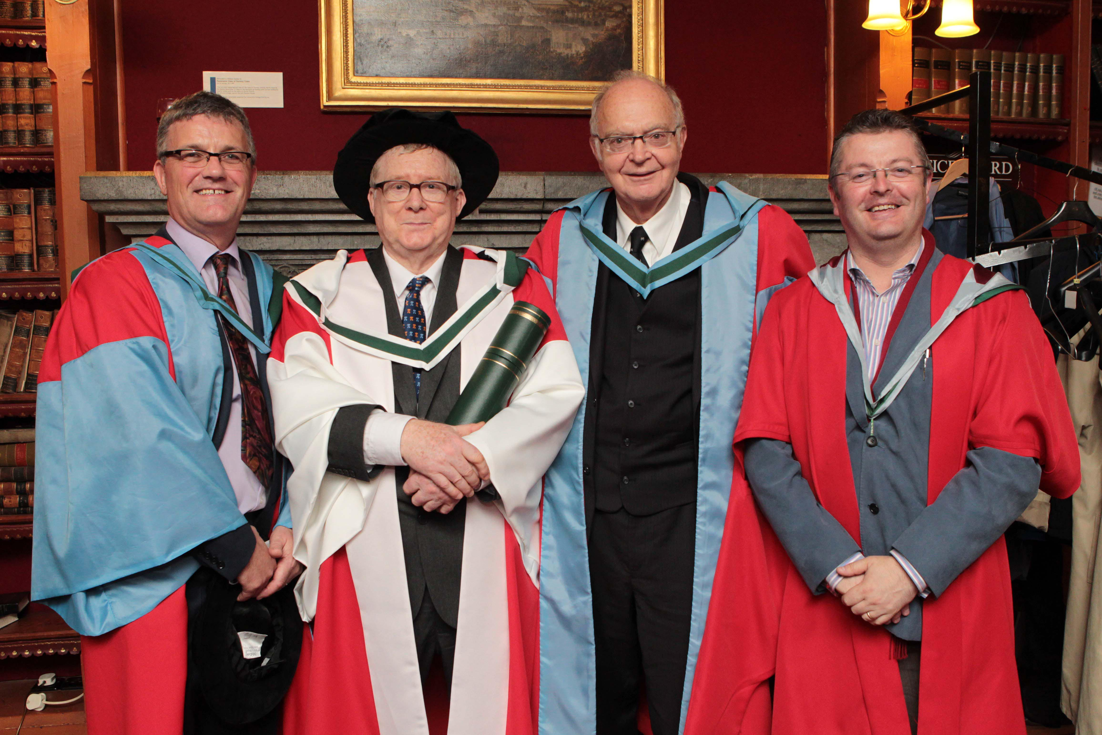 Professors John O'Halloran, Des McHale, Donald Knuth and Barry O'Sullivan pictured at the post-ceremony reception of the honorary conferrings at UCC on George Boole Day. Pic: Diane Cusack