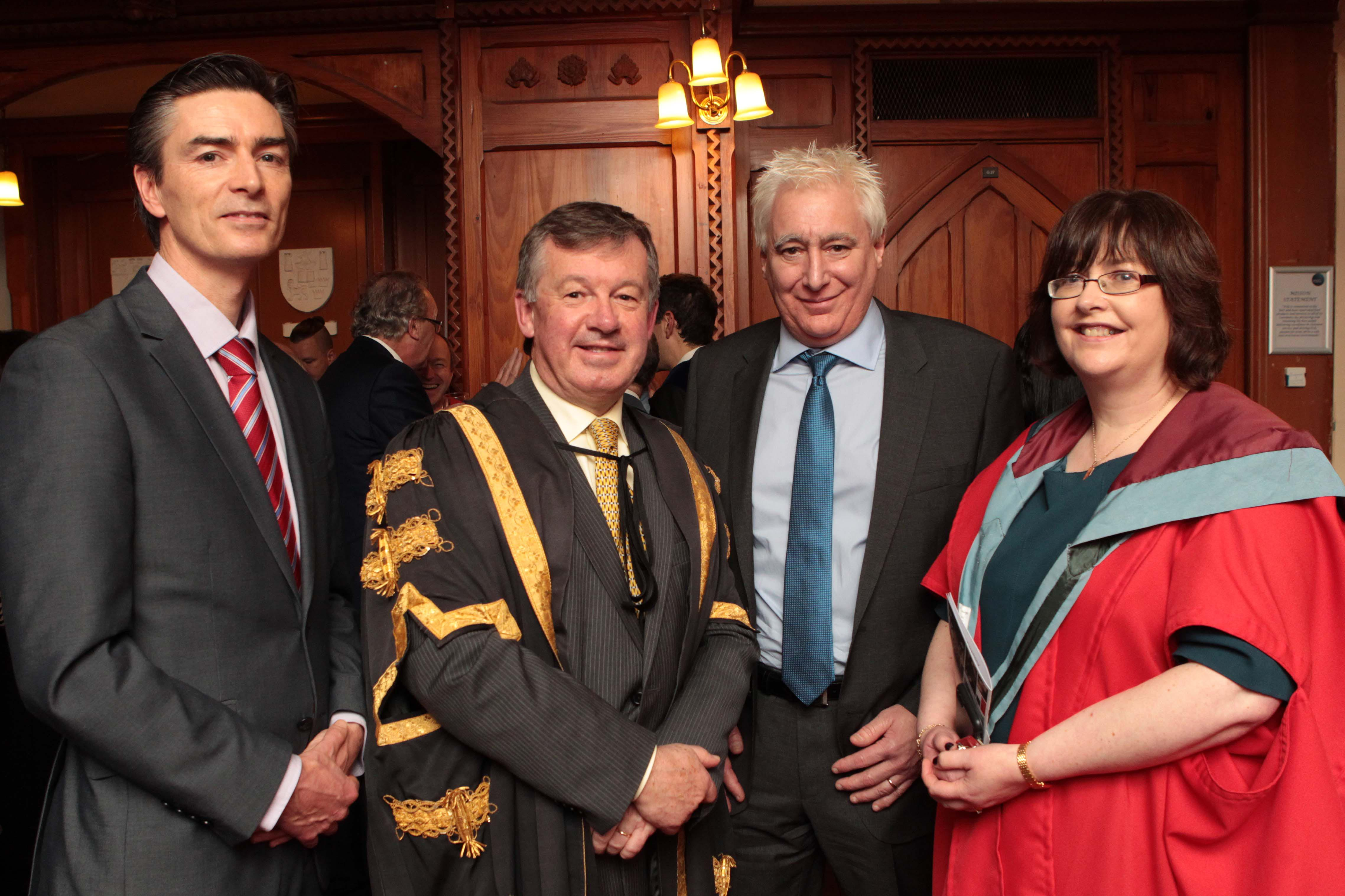 Donal Sullivan of Tyco; Dr. Michael Murphy, President of UCC, Joe Buccino of Tyco, and Anita Maguire, VP of Research at UCC, pictured at the post-ceremony reception of the honorary conferrings at UCC on George Boole Day. Pic: Diane Cusack