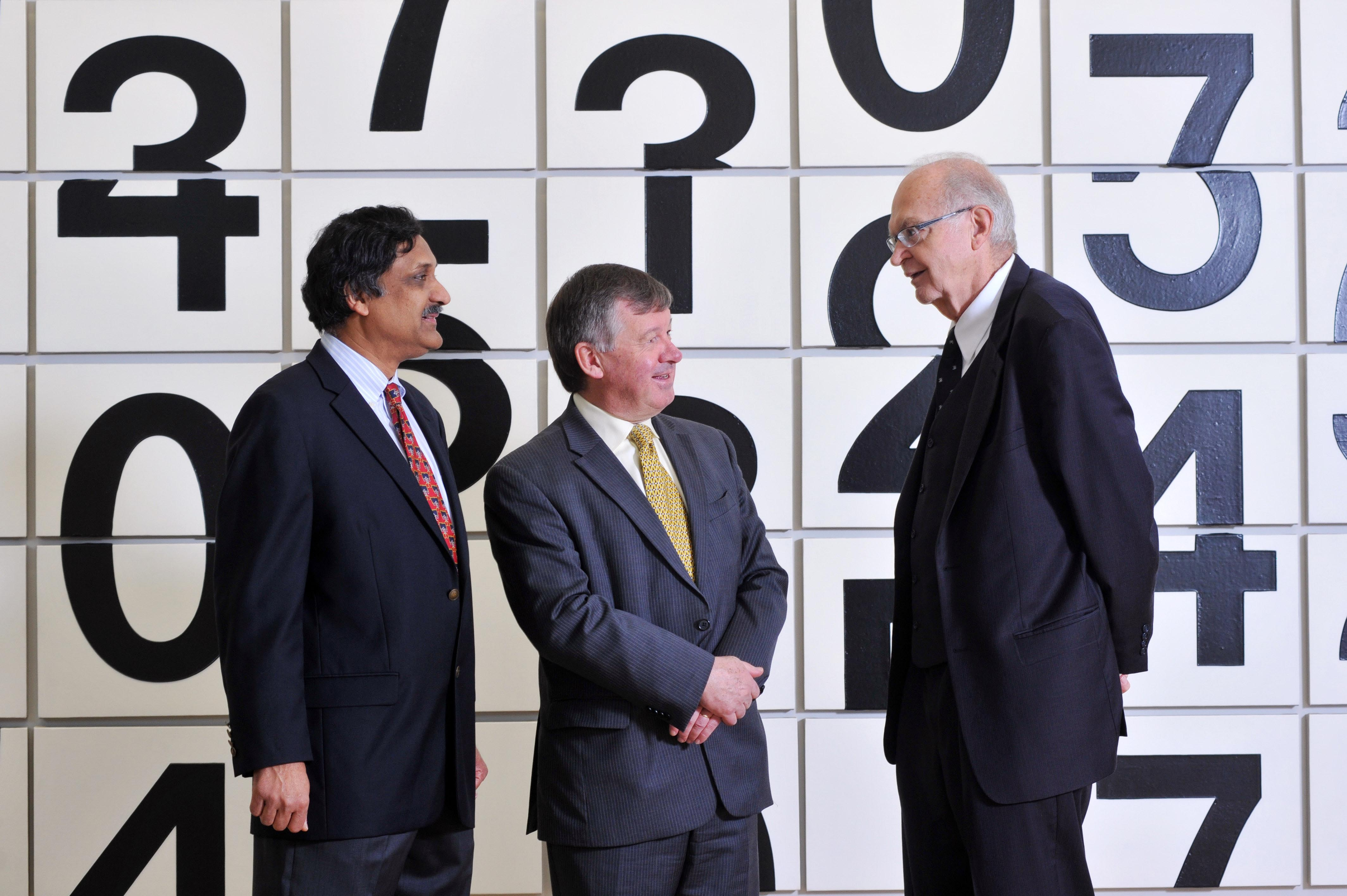 George Boole Day kicks off at UCC - Anant Agarwal, CEO of edX; President of UCC Dr Michael Murphy and American computing pioneer Donald Knuth pictured in the Glucksman Gallery, UCC, Cork at a panel discussion on what George Boole means to them. Pic Daragh Mc Sweeney/Provision