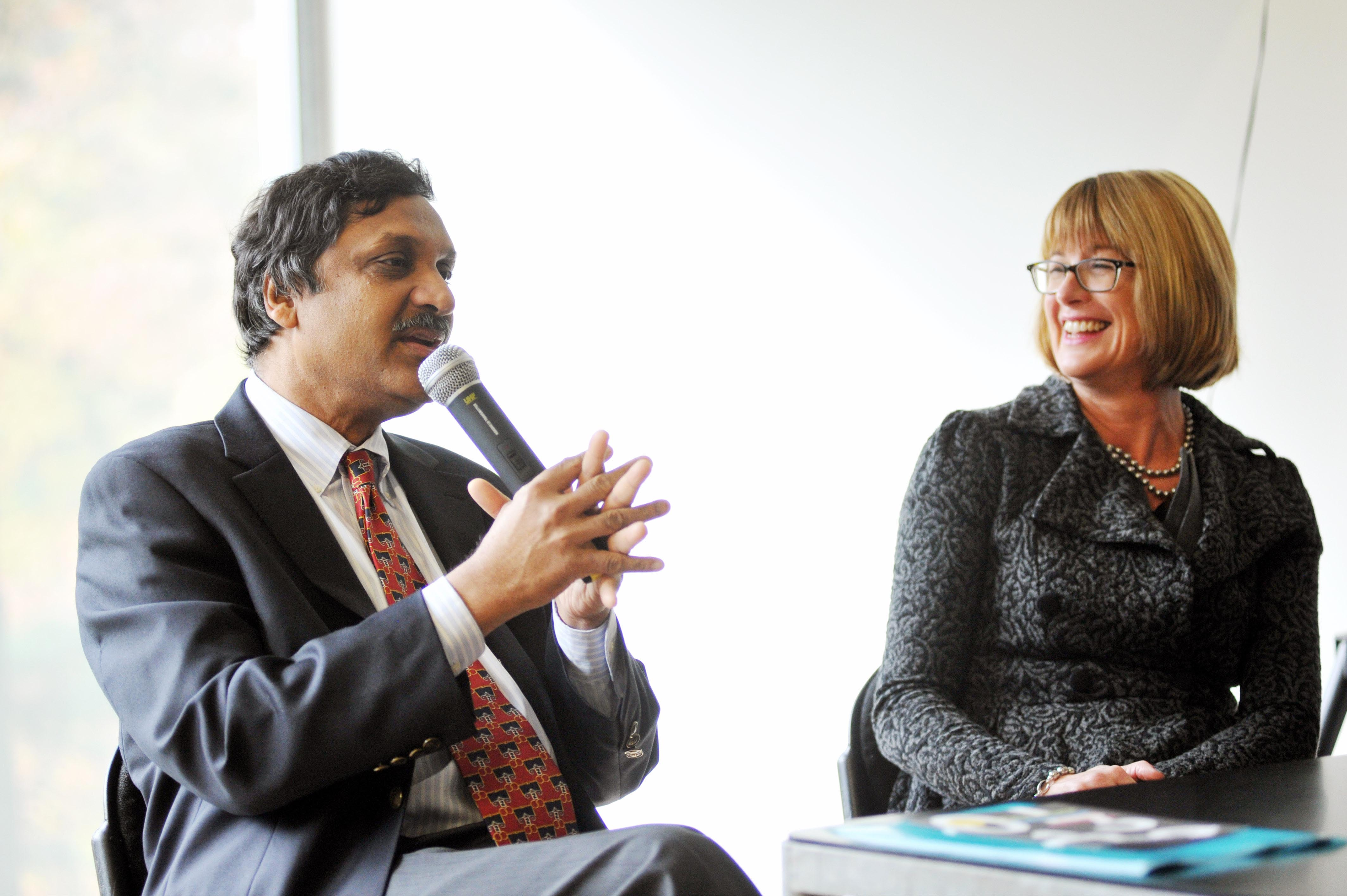 George Boole Day kicks off at UCC - Anant Agarwal, CEO of edX and Michelle Sliney, Principal of Coláiste Choilm in Ballincollig pictured in the Glucksman Gallery, UCC, Cork at a panel discussion on what George Boole means to them.