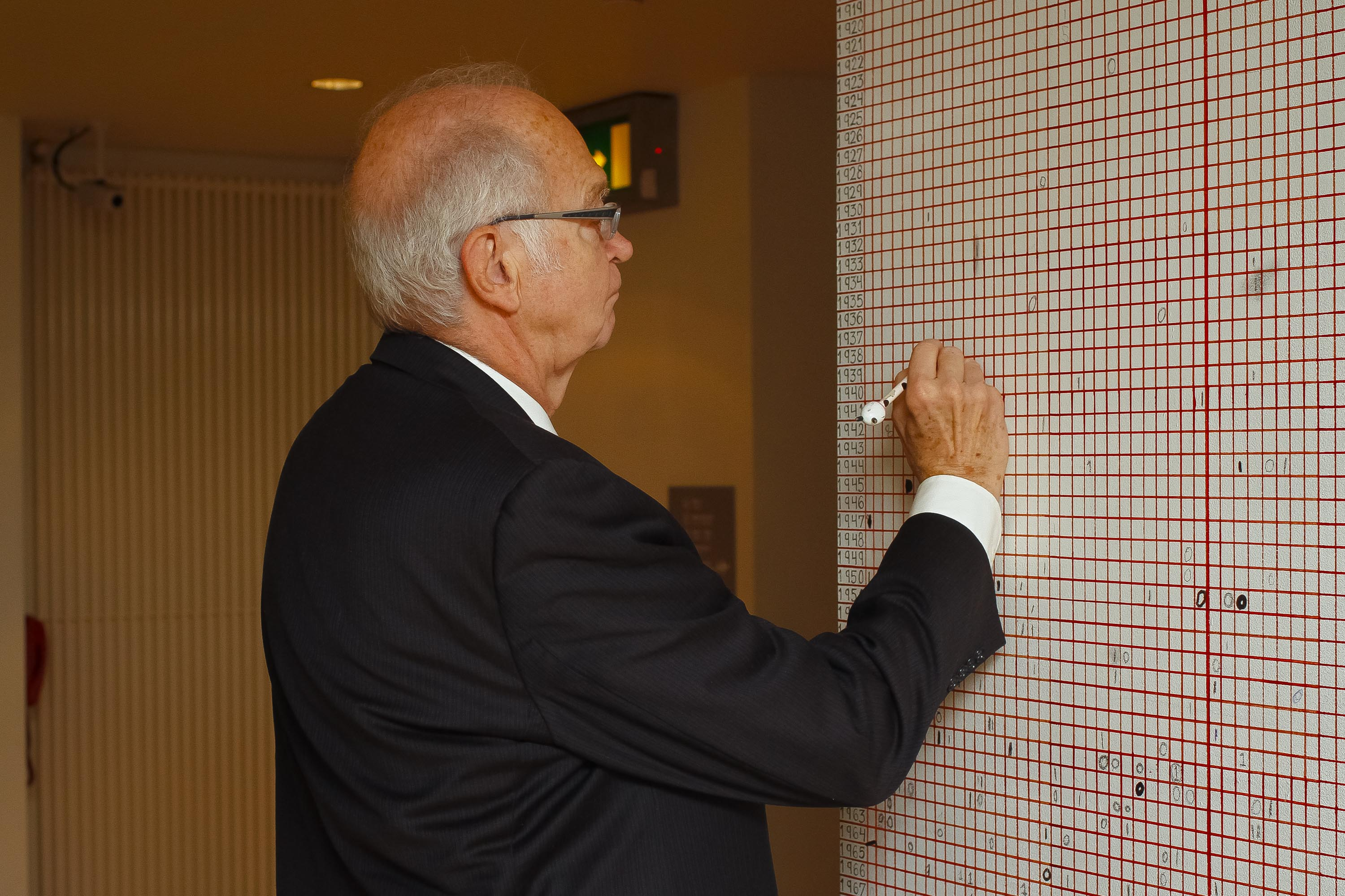Donald E. Knuth adds his mark to the Live Statistics Wall at the Glucksman Gallery.