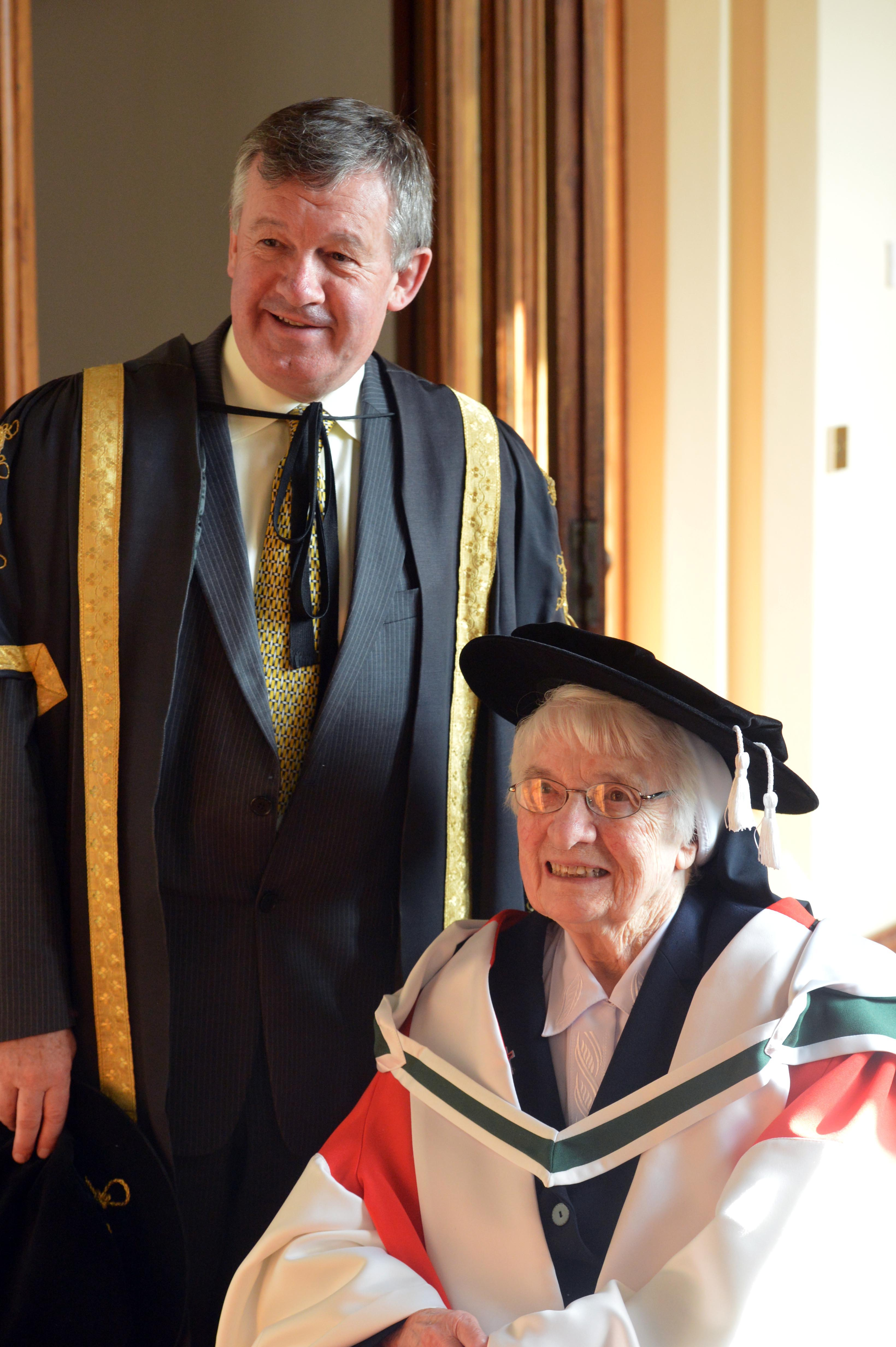 Sr Mercedes Desmond, one of the founders the Irish Science Teachers' Association (ISTA), with President Dr. Michael Murphy.
