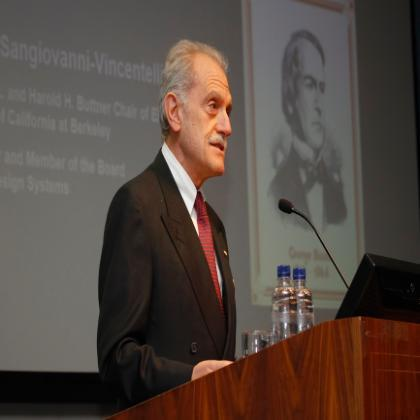 Professor Alberto Sangiovanni Vincentelli addresses the George Boole 200 Inaugural Lectures