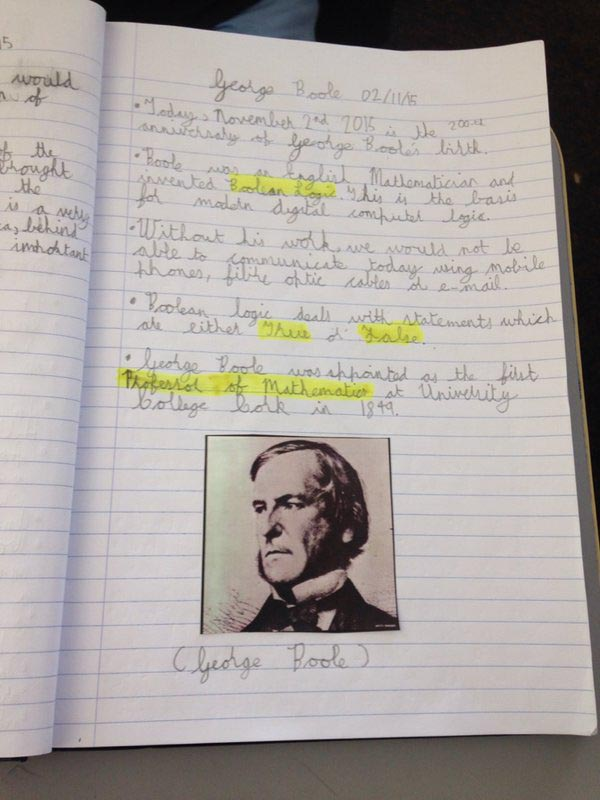 Students learned about George Boole as part of their math lessons with UCC brings Boole2School.